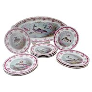 """Antique Austrian Fish Set  """" Austrian Transfer Fish Set""""   Includes  a Stunning Platter &  12 Plates ~ Glorious Colors of Lavenders, Purples &  Burgundy with Awesome Green Tones ~  Just the Perfect Touch of Gilding"""