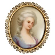 Charming Jeweled Porcelain Miniature ~  Circled in Rhinestones Gems ~ Lovely Gilt Metal Frame with an Easel Back for Table Top or Circle to Hang