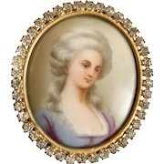 Charming Jeweled Porcelain Miniature ~ That is Circled in Rhinestones Gems ~ Lovely Gilt Metal Frame with an Easel Back for Table Top or Circle to Hang