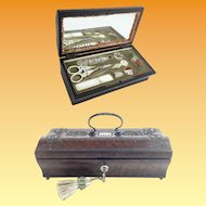 1860 Palais Royal Sewing Etui Box ~ A Delightful Wood Box with an Exquisite Cut Steel Beaded Top .~ Stunning Shape ~   Seven Pieces.