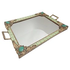 """Antique Austrian Jeweled Vanity Tray ~Beautiful Double Handles ~ Rare Color & Design   """"A BEAUTY"""""""