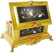 "Magnificent French Gilt Bronze Pietra Dura Casket Hinged Box "" FIVE GRANDEST PLAQUES""."