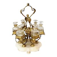 "PALAIS ROYAL  12"" Perfume Stand w/ 6 Bottles  ~ Glorious Gilt Ormolu Stand Resting on an Alabaster Plinth & Holding 6 Perfume Bottles ~ Ornate Stand has Gilt Ormolu Flowers &  Metal Beaded Swags that Circle the Large Stand."
