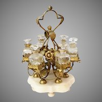 """PALAIS ROYAL  12"""" Perfume Stand w/ 6 Bottles  ~ Glorious Gilt Ormolu Stand Resting on an Alabaster Plinth & Holding 6 Perfume Bottles ~ Ornate Stand has Gilt Ormolu Flowers &  Metal Beaded Swags that Circle the Large Stand."""