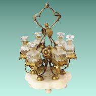 """RARE French """"PALAIS ROYAL""""  12"""" Perfume Stand w/ 6 Bottles ~ Glorious Gilt Ormolu Stand Resting on an Alabaster Plinth & Holding 6 Perfume Bottles ~ Ornate Stand has Gilt Ormolu Flowers &  Metal Beaded Swags that Circle the Large Stand."""