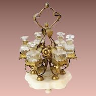 "RARE French ""PALAIS ROYAL""  12"" Perfume Stand w/ 6 Bottles ~ Glorious Gilt Ormolu Stand Resting on an Alabaster Plinth & Holding 6 Perfume Bottles ~ Ornate Stand has Gilt Ormolu Flowers &  Metal Beaded Swags that Circle the Large Stand."