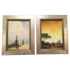 PAIR ~ 1978 Oil Paintings Signed  SALVADOR