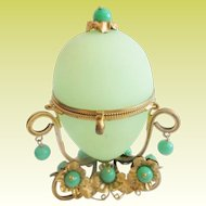 Palais Royal Green Opaline Casket Hinged Box.~ Awesome Green Opaline with Green Gems ~ EGG Shaped Hinged Box with Magnificent  Jeweled Gilt Ormolu ~A PRIZE!