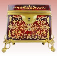 """Exquisite Antique Moser Red Casket Hinged Box with Double Handle ~ Magnificent Hand Enamel Covers the Glorious Ruby Casket ~ Beautiful Ornate Footed Base ~ """" A MASTERPIECE"""""""