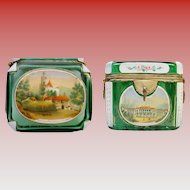 """Antique Bohemian White Cut to Green Spa """"Double Handle"""" Casket Hinged Box ~ EXTRAORDINARY  ~  Original Key ~ Very Rare Five Hand painted Plaques"""