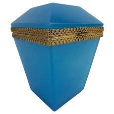 "Antique Blue Opaline Hinge Box "" Rare & Stunning Shape"" Fancy Gilt Mounts & Lift Clasp"