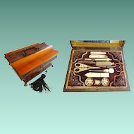 """Antique 10 ½"""" Palais Royal Sewing Box Etui Filled with Mother of Pearl Treasures ~ A Big Paw Wood Hinged Wood Casket with 11 Pieces ~"""