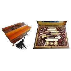 "Antique 10 ½"" Palais Royal Sewing Box Etui Filled with Mother of Pearl Treasures ~ A Big Paw Wood Hinged Wood Casket with 11 Pieces ~"