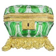 "EXQUISITE Antique Baccarat Cut Bronze Casket Hinged Box ~  "" THE BEST"" Baccarat Green Cut to Clear Casket ~ A MASTERPIECE"