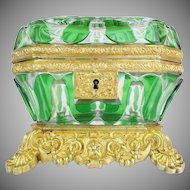 "EXQUISITE Antique Baccarat Cut Bronze Casket Hinged Box ~  "" THE BEST"" Baccarat Green Cut to Clear Casket ~ A MASTERPIECE"