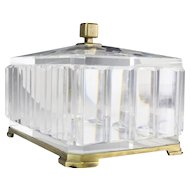 """GRANDEST  9 ¾""""  French Crystal Casket Hinged Box ~ Beautiful Very Fine Crystal &  Bronze Mounts Prism Faceted Sides with Scissor Cut Slightly Domed Top ~ Rests on a Bronze Base with Ogee Feet."""