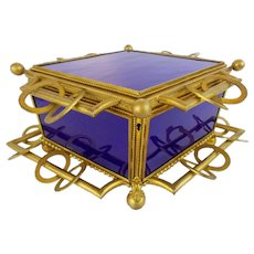 "12 ½"" Antique French Cobalt Bronze Casket Hinged Box "" RARE SHAPE & 5 COBALT GLASS PLAQUES "" Glorious BIG Antique French Cobalt Bronze Casket Hinged Box  ""Spectacular"" ~  RARE Shape with 5 Gorgeous Cobalt Glass Plaques  ~  Exquisite Dore' Bronze"