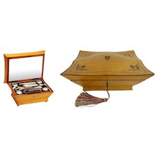 1830 Musical Etui Necessaire Sewing Box Fitted with 9 Silver, Mother of Pearl &  Cut Crystal ~ Awesome Exquisite Pieces ~  The Music Box Plays Two Tunes Songs.