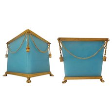 Magnificent & RARE Antique French Opaline Paw Foot Cachepot ~ Beautiful Blue Opaline Glass with Gilt Swags of Chain Draped Around the Cachepot &  4 Gilt Tassels.