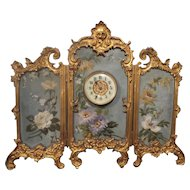 Exquisite  Antique French Miniature Hand Painted Bronze Three Fold Screen with Clock ~   A BEAUTY from My Treasure Vault.