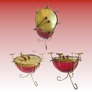 "Palais Royal Cranberry Casket Hinged Box "" DRUM SHAPE"" Rare & Wonderful"