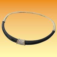 GLORIOUS  14KARAT Black Onyx &  Diamond Choker Necklace
