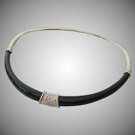 GLORIOUS  14KARAT Black Onyx &  Diamond Choker Necklace