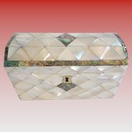 Antique Dome Top Mother of Pearl & Abalone Casket Hinged Box ~ Beautiful Mother of Pearl Hinged Box with the Perfect Touch of Abalone