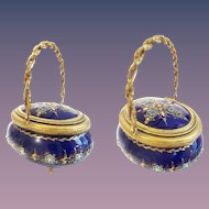 Antique French Jeweled Sevres Kiln-fired Enamel Casket Hinged Box ~ Glorious Rope Handle Casket Hinged Box ~  Exquisite Cobalt Color &  Covered in Little Tiny Gems Resting on Four Little Legs.