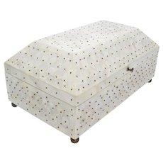 Exquisite BIG Vintage Dome Top Mother of Pearl Casket Hinged Box ~ Bronze Ball Feet &  Studs ~ Wonderful Quality Mother of Pearl.