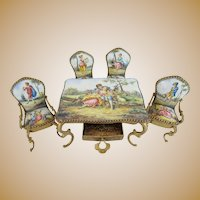"Austrian Viennese Enamel Miniature Set ""Beautiful Pastoral Scenes"" ~ 5  Fabulous Pieces ~ Table with Drawer, Two Arm Chairs & Two Side Chairs ~ Beautiful Pastoral Scenes."