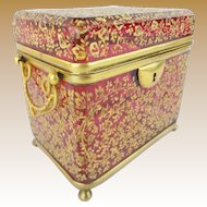 "Antique Moser Cranberry Casket Hinged Box  "" Double Handle ""   Magnificent Gilding & Footed Base"