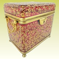"""Antique Moser Cranberry Casket Hinged Box  """" Double Handle """"   Magnificent Gilding & Footed Base"""