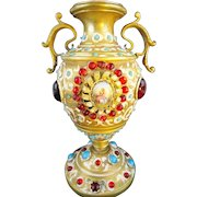 """1900  Austrian Bronze Jeweled Enamel Urn Vase """"Double Handles & Two Hand painted Porcelain Plaques with Pastoral Scenes ~ The Bronze Enamel Urn is Cover in Red & Turquoise Gems"""