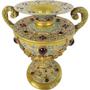 "Glorious Austrian Jeweled Bronze Double Handle Enamel Urn  "" A JEWELED MASTERPIECE"""