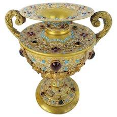 "Glorious Austrian Jeweled Bronze Double Handle Enamel Urn  "" A JEWELED MASTERPIECE"""