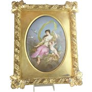"""1880 French  Hand Painted Porcelain Plaque Framed """"A  MASTERPIECE""""  Beautiful Young Beauty w Winged Cherub"""