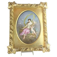 """LAYAWAY 1880 French  Hand Painted Porcelain Plaque Framed """"A  MASTERPIECE""""  Beautiful Young Beauty w Winged Cherub - Red Tag Sale Item"""
