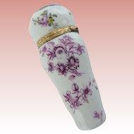 "Antique Porcelain Necessaire Etui ""12Karat Mounts &  All Pieces Tested 12Karat ~  Beautiful Purple Transfer &  Pastoral Scene"