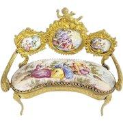 Antique Viennese Enamel Putti Miniature Settee  ~ Extraordinary Pastoral Scenes, Rare Shape, &  Superior Quality