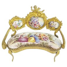 Antique Viennese Enamel Putti Miniature Settee  ~ Extraordinary Pastoral Scenes, Rare Shape, &  Superior Quality