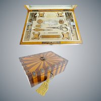 E  Antique Wood and Cut Steel Etui Box ~ Fitted with Treasures that will Amaze You  ~ Studded with Cut Steel Gems