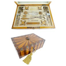 Antique Wood and Cut Steel Etui Box ~ Fitted with Treasures that will Amaze You  ~  Studded with Cut Steel Gems