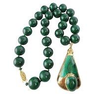 "Vintage Estate Malachite Necklace with Malachite Pendant  ""BEAUTIFUL """