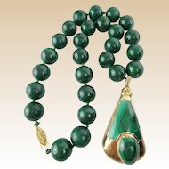 "Vintage Estate Malachite Necklace with Malachite Pendant  ""BEAUTIFUL """