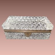 """GRANDEST French Cut Crystal Casket Hinged Box ~ A BIG Cut Crystal with Ornate Gilt Mounts & Fancy Mounts """" EXQUISITE CUT"""""""