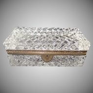 "STUNNING  French Cut Crystal Casket Hinged Box ~ A Grand Size Cut Crystal with Ornate Gilt Mounts & Fancy Mounts "" EXQUISITE CUT"""