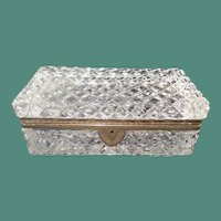 "Very Fine French Cut Crystal Casket Hinged Box ~ A BIG Cut Crystal with Ornate Gilt Mounts & Fancy Mounts "" EXQUISITE CUT"""