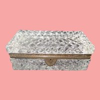 """Very Fine French Cut Crystal Casket Hinged Box ~ A BIG Cut Crystal with Ornate Gilt Mounts & Fancy Mounts """" EXQUISITE CUT"""""""