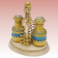 "Charming Palais Royal Blue Opaline Scent Caddy   ""Two Blue Opaline Scent Bottle""  Bottles Draped in Gilt Ormolu  and Miniature Tops"